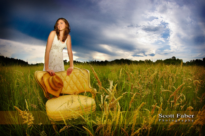 High School Senior Session - On location in Field with Yellow Chiar