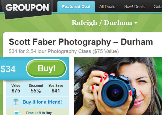 Groupon Coupon - DSLR + Photography Classes @ Scott Faber Photography