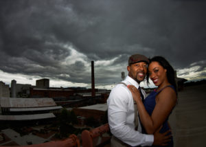 Engaged couple at American Tobacco Campus